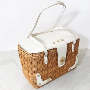 Kate Spade wicker picnic basket tote bag white